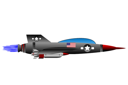 vehicle combat: Jet-fighter on white background. Vector illustration.