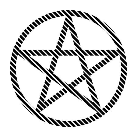 satanism: Pentagram sign on white background. Vector illustration.