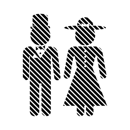 gents: Male and female restroom symbol sign in retro style. Vector illustration.
