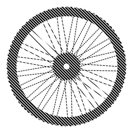 motoring: Bicycle wheel sign on white background. Vector illustration. Illustration