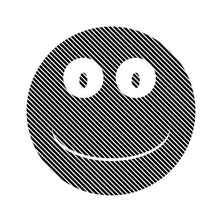 trato amable: Cara de la sonrisa el signo del c�rculo sobre fondo blanco. Ilustraci�n del vector.