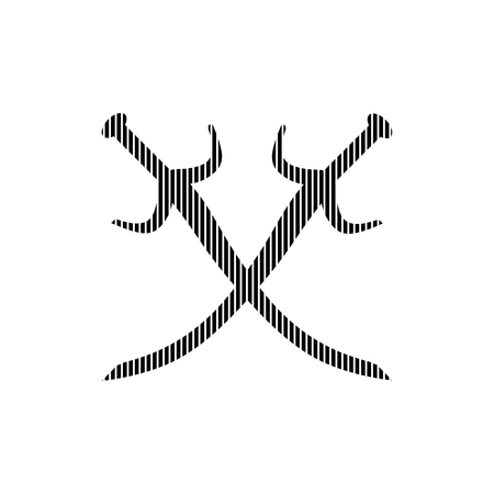 longsword: Crossed swords sign on white background. Vector illustration.