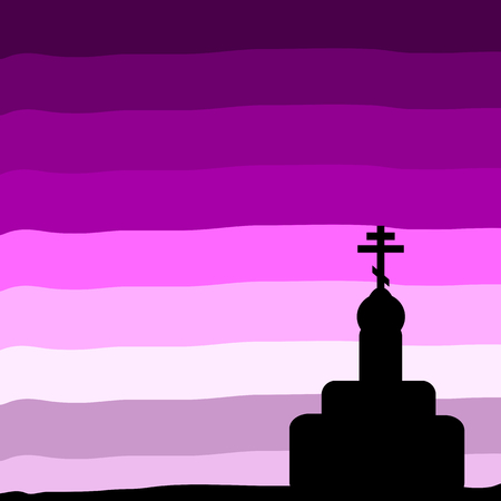 orthodox: The Orthodox Church at sunset background. Vector illustration. Illustration