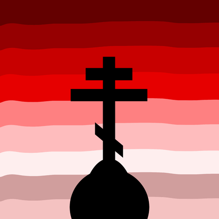 orthodox: The Orthodox Cross at sunset background. Vector illustration.