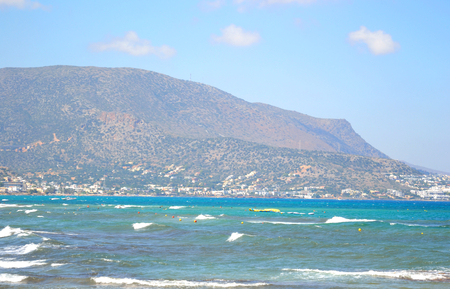 aegean sea: Aegean Sea and mountains in Crete, Greece. Stock Photo