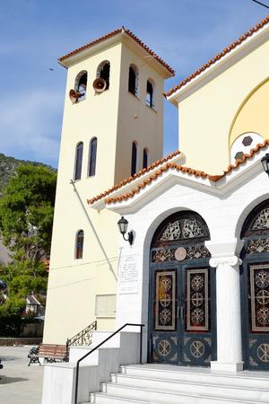 pacification: LOUTRAKI, GREECE - 1 JUNE, 2015: The Orthodox Church Ekklisia Agios Ioannis in Loutraki town, Greece.