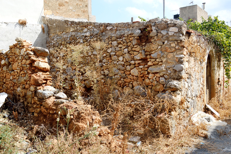 disrupted: Ruined house in the old part of Malia, Crete, Greece.
