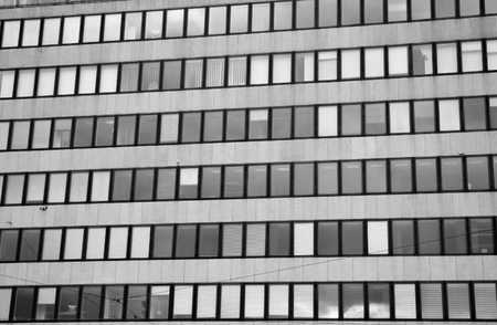 functionalism: Modern building in central part of Helsinki, Finland. Black and white. Stock Photo