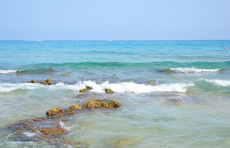 aegean sea: The waves on the Aegean Sea and blue sky.