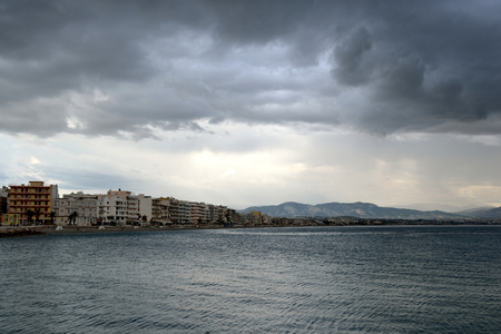 tempest: Ionian sea in a cloudy day, near Loutraki, Greece.