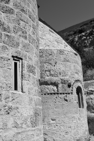 byzantine: The Orthodox Church in the Byzantine style in Loutraki, Greece. Black and white.