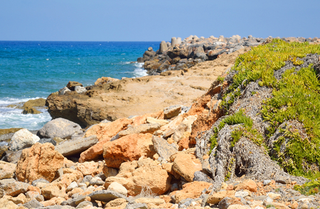 shores: The shores of the Aegean Sea in Crete, Greece. Stock Photo