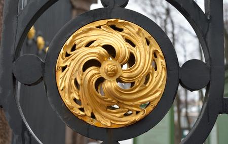 gilded: Detail of gilded lattice of Summer Garden in St.Petersburg, Russia.