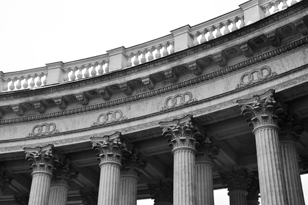 kazanskiy: Detail the colonnade of the Kazan Cathedral in St.Petersburg, Russia. Black and white.