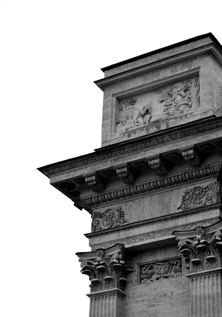 kazanskiy: Detail of the Kazan Cathedral in St.Petersburg, Russia. Black and white. Stock Photo