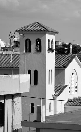 pacification: The Orthodox Church Ekklisia Agios Ioannis in Loutraki town, Greece. Black and white.