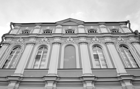 lavra: Alexander Nevsky Lavra, ancient monastery in Baroque style in center of St.Petersburg, Russia. Black and white. Stock Photo