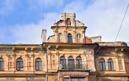 demolish: Old building in center of Petersburg, Russia. Stock Photo