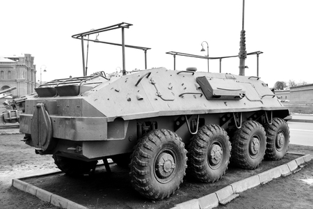 soviet: Old soviet armored troop-carrier. Black and white. Stock Photo