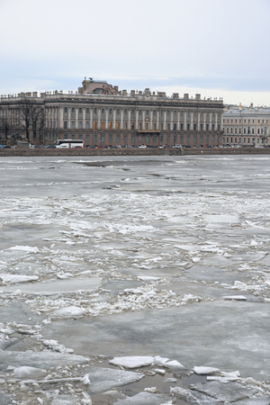 marble palace: View of Frozen Neva River and Marble Palace in center of St.Petersburg at cloudy winter day, Russia.