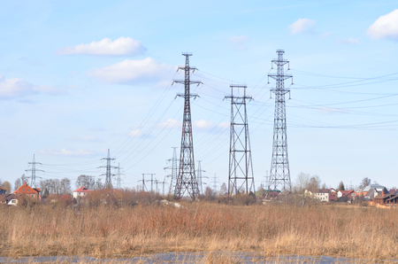 power line transmission: Early spring landscape with electric power line transmission, outskirts of St.Petersburg, Russia. Stock Photo