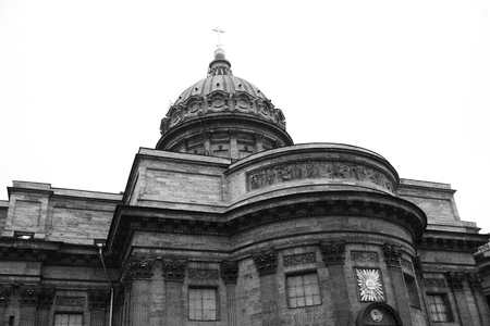 kazanskiy: View of Kazan Cathedral in St.Petersburg, Russia. Black and white.