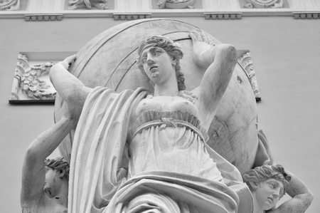 earthly: Sculptural group of sea nymphs bearing the earthly realm near the Admiralty building in Petersburg, Russia. Black and white. Stock Photo