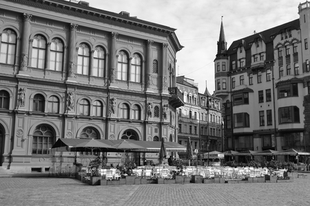 baltic people: RIGA, LATVIA - APRIL 18, 2015: Street in center of Riga. Black and white. Riga - the capital of Latvia and the largest city of the Baltic states with a population of 641,007 people. Editorial