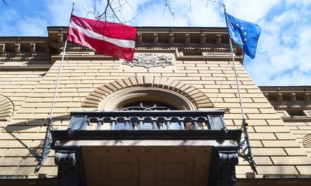 riga: Building of Latvian Saeima Republican in Riga, Latvia. Stock Photo
