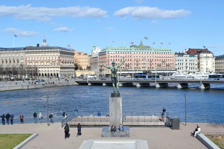 norrmalm: STOCKHOLM, SWEDEN - APRIL 19, 2015: View of cental part of Stockholm. Stockholm largest Swedish city with a population of 921,504 inhabitants.