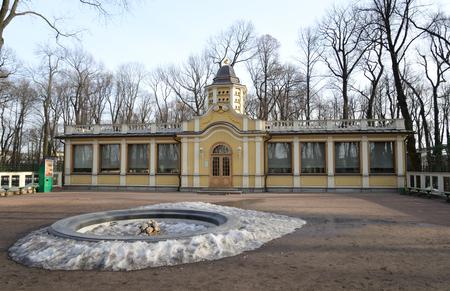 aves de corral: piso del gallinero en el patio jardín del verano en St Petersburg en la soleada tarde de primavera, Rusia