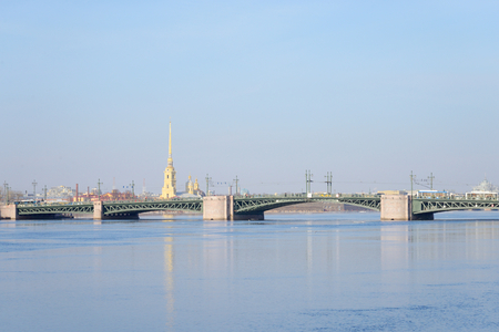 neva: Palace Bridge and Neva River in St.Petersburg, Russia.