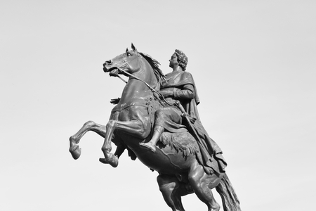 horseman: Bronze Horseman - monument to Peter I on the Senate Square in St. Petersburg. Black and white. Stock Photo