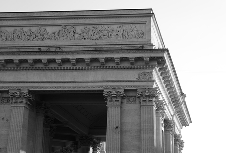kazanskiy: Fragment of Kazan Cathedral in St.Petersburg, Russia. Black and white.