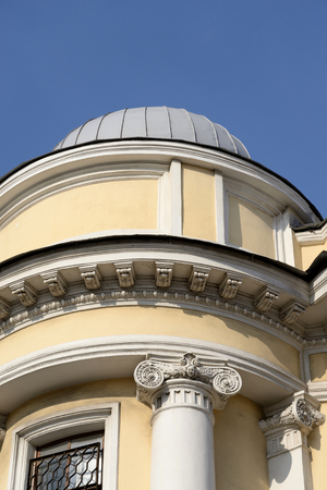 peterburg: Fragment of an old building in the classical style in the center of St. Petersburg at sunny day, Russia.