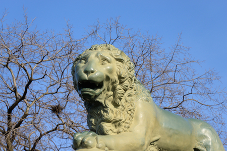 peterburg: Lion statue on embankment of Neva River in St.Petersburg, Russia. Editorial
