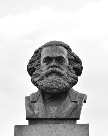sociologist: Statue of Karl Marx in St.Petersburg, Russia. Black and white.