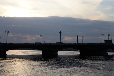 blagoveshchensky: Silhouette of Annunciation bridge and Neva River at sunset, St.Petersburg, Russia.