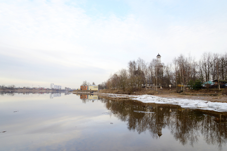outskirts: View of Neva River on the outskirts of St. Petersburg at sunny spring evening, Russia.