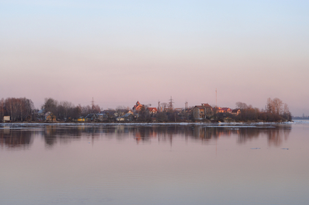 outskirts: View of Neva River on the outskirts of St. Petersburg at sunset, Russia. Stock Photo