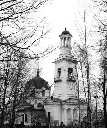 alexander nevsky: Church of St. Alexander Nevsky in Ust-Izhora town, St.Petersburg suburb, Russia. Black and white. Stock Photo
