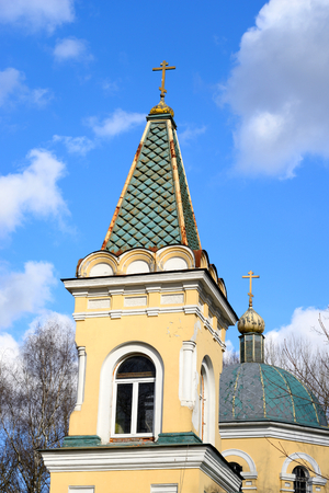 conservatives: The Church of the icon of the Mother of God. Znamenskaya Church in microdistrict Ribatskoe on the outskirts of St. Petersburg, Russia. Stock Photo
