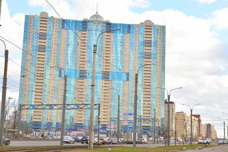 outskirts: ST.PETERSBURG, RUSSSIA - 9 APRIL 2016: Residential skyscraper Prince Alexander Nevsky in microdistrict Ribatskoe on the outskirts of St. Petersburg, Russia.
