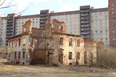 producer: ST.PETERSBURG, RUSSSIA - 9 APRIL 2016: Ruins of house fishing producer Zotov in microdistrict Ribatskoe on the outskirts of St. Petersburg, Russia.