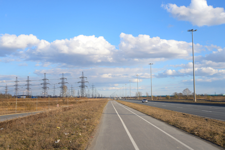 outskirts: Bike path on the outskirts of St. Petersburg at sunny day, Russia.