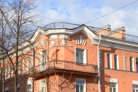 stalin empire style: The building in the style of Stalin in Kolpino, outskirts of St. Petersburg, Russia.