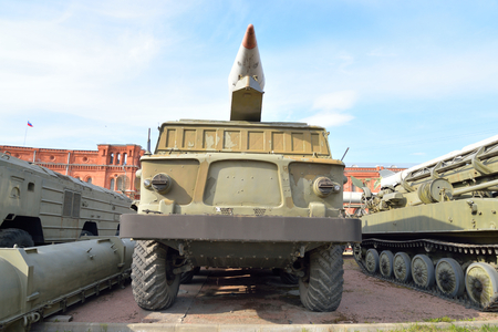 complex system: ST.PETERSBURG, RUSSIA - 17 APRIL 2016: Launcher 2P113 with a rocket 2M21 missile complex 9K52 Luna-M in Artillery Museum. Soviet tactical missile system. NATO classification - FROG-7. Adopted in 1964.
