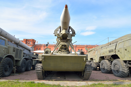 complex system: ST.PETERSBURG, RUSSIA - 17 APRIL 2016: Launcher 2P16 with a rocket 3R9 missile complex 2K6 Luna in Artillery Museum. Soviet tactical missile system. NATO classification - FROG-3. Adopted in 1960.