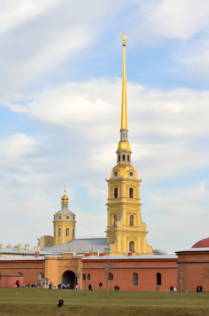spire: Spire of Peter and Paul Cathedral in St.Petersburg, Russia. Stock Photo