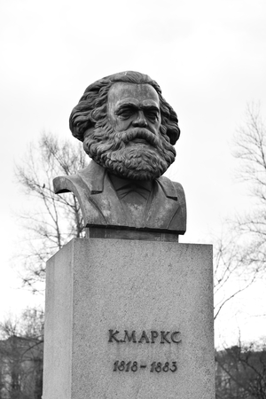 sociologist: ST.PETERSBURG, RUSSIA - APRIL 2, 2016: Statue of Karl Marx in St.Petersburg, Russia. Black and white. German philosopher, one of the founders of Marxism.